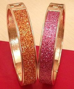 NEW Set of 2 Betsey Johnson Pink Orange Glitter Goldtone Hinged Bangle Bracelets - http://designerjewelrygalleria.com/betsey-johnson/new-set-of-2-betsey-johnson-pink-orange-glitter-goldtone-hinged-bangle-bracelets/