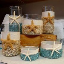 Ideas Room Decor Beach Candle Holders For 2019 Seashell Crafts, Beach Crafts, Diy And Crafts, Seashell Candles, Mason Jar Crafts, Bottle Crafts, Deco Theme Marin, Summer Deco, Beach House Decor
