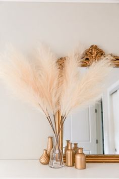 100 Boho Wedding Decor Finds You'll Love! | The Perfect Palette Boho Wedding Flowers, Boho Wedding Decorations, Flower Decorations, Grass Decor, Gold Vases, Pampas Grass, Taupe Color, Interior Decorating, Decorating Ideas