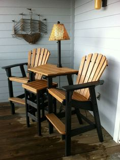 Bar height Coastal Counter Chairs with tete-a-tete table top and flat top stool. Shown in two-tone combination of Black and Cedar. Adirondack Chair Plans, Adirondack Furniture, Backyard Furniture, Funky Furniture, Pallet Furniture, Furniture Plans, Rustic Furniture, Furniture Design, Bar Furniture