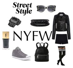 """Street Style NYFW 2017"" by cj-blue ❤ liked on Polyvore featuring Converse, IRO, Yves Saint Laurent, Street Level, Spring Street, StreetStyle and NYFW"