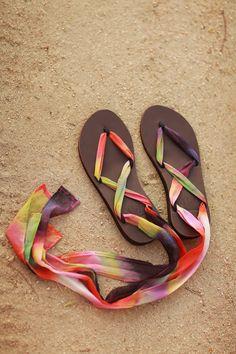 Tie Dye Sseko Sandals // Tango Chiffon Ribbons to brighten your summer sandal look! #summer #bright #diy