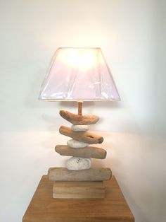 Lampe en bois flotté-galets 56
