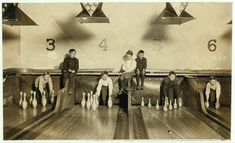 Boys working in the Arcade Bowling Alley, Trenton, New Jersey, December 20, 1909.