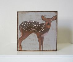 Deer 5x5 art block Baby Nursery Decor Children by redtilestudio
