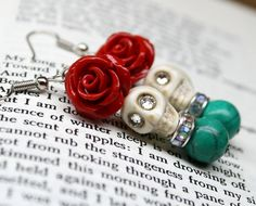 Hey, I found this really awesome Etsy listing at https://www.etsy.com/listing/247772455/sugar-skull-earrings-with-red-roses-dod