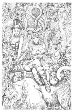 Wonderland 10 Cover Pencils by Kromespawn on DeviantArt Adult Coloring Pages, Fairy Coloring, Colouring Pics, Coloring Pages To Print, Printable Coloring Pages, Coloring Books, Comic Kunst, Comic Art, Colorful Drawings