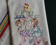 Hand embroidered tea towel, embroidered kitchen towel, dishtowel, mother gift towel
