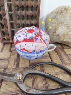 Vintage Teacup Pincushion Red White Blue Sewing Accessory Tea Cup Pin Cushion Toy Teacup Blue Horses Cup China Cup Pincushion Sewer's Gift by BlendedSplendid on Etsy