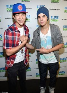 Bros: Mahone and Bieber hang out at the Elvis Duran Z100 morning show in June 2012...