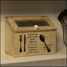 Large Rustic Wooden Recipe Storage Box