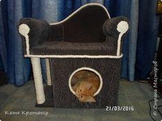 Приветствую всех жителей СМ. Наш любимец - Крысилий очень любит всякие коробки, пуфики и диваны, вот решила сотворить ему свой собственный. это мой первый кошачий дом. размер: Длина - 53см, высота - 55 см, ширина - 32 см. фото 10