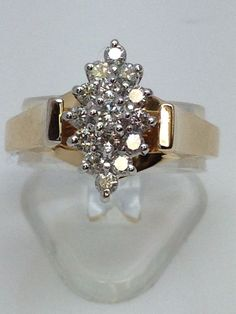 14K YELLOW GOLD MARQUISE SHAPE CLUSTER OF ROUND .50TCW DIAMOND LADIES RING #Cluster