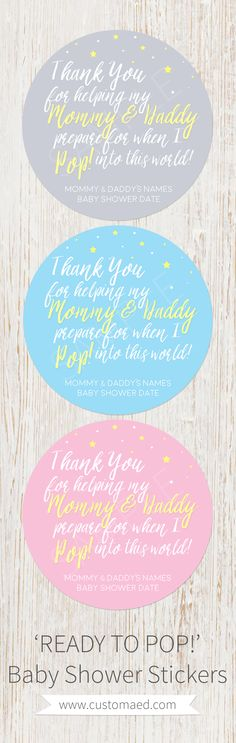'Ready to POP!' Popcorn Baby Shower stickers - Pink, Blue or Gender Neutral - ready to pop - with stars
