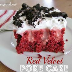 Red Velvet Poke Cake. For a healthier version I used 1 cup greek yogurt and 1 cup water to prepare the cake in place of the eggs and oil, 2 packs suger free jell-o prepared with low fat milk and lite whipped topping :)