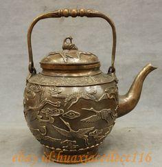 "12"" Marked Chinese Bronze 1000 Crane Birds Copper Statue Teapot Wine Pot Flagon | eBay"