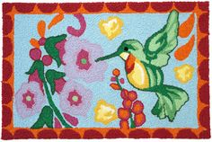 Winston Porter This durable Bearer Hummingbird Hand-Tufted Blue/Green/Pink Indoor/Outdoor Area Rug will provide style to any patio or entrance way. The whimsical design is sure to put a smile on your face and is practical as well. Navy Blue Area Rug, Beige Area Rugs, Jellybean Rugs, Indoor Outdoor Area Rugs, Jelly Beans, Throw Rugs, Cool Designs, Whimsical, Rug Features