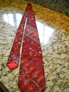 Wemlon by Wembley Red White Gold Neck Tie Heavy Fabric Paisley Flowered Design  $12.50