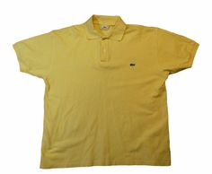 Lacoste polo sport shirt mens yellow 100% cotton size XXL logo #Lacoste #PoloRugby