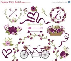 Wedding Clipart | Laurel Clipart | Wreath Clip Art | Bike Clip Art | Vintage Tandem Bike | Floral Bicycle Clip Art | Blog Graphics https://www.etsy.com/listing/217759431