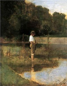 Angler 1890 Poster by Mednyanszky Laszlo. All posters are professionally printed, packaged, and shipped within 3 - 4 business days. National Gallery, Art Database, Figure Painting, Contemporary Paintings, Figurative Art, Impressionism, Painting Inspiration, Great Artists, Landscape Paintings