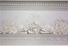 Embellished plaster work at ceiling height on the walls around the room.  A Federal period house. Gaillard-Bennett House, 60 Montagu Street, Charleston, South Carolina, c.1800