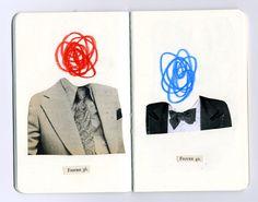 Vintage minimalist collages by Anthony Zinonos Sketchbook Project, Art Sketchbook, Photography Sketchbook, Collages, Collage Drawing, Drawing Portraits, Collage Collage, Collage Vintage, Collage Design