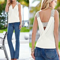 Summer Tank Tops Blouse Sleeveless Summer Top Casual Fashion Women Sexy V-neck Casual Blouse Vest Ladies Clothing - Melissa Plus Size Tank Tops, Womens Sleeveless Tops, Sleeveless Blouse, Summer Tank Tops, Style Casual, Women's Summer Fashion, Clothes For Women, Fashion Women, 2017 Summer