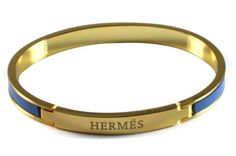 Hermes Logo Gold & Blue Bangle