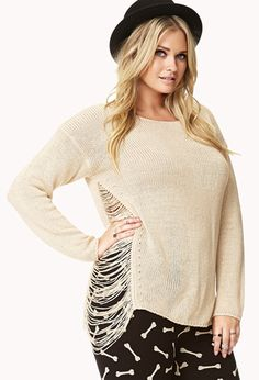 Cutout Open-Knit Sweater | FOREVER21 PLUS - 2000092066