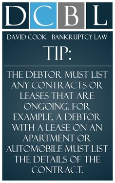 DCBL Bankruptcy Requirements tip: The debtor must list any contracts or leases that are ongoing. For example, a debtor with a lease on an apartment or automobile must list the details of the contract
