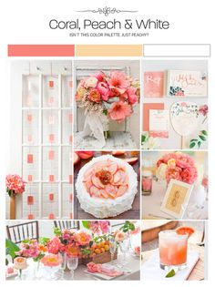 Coral, peach and white inspiration board, color palette, mood board, wedding ideas
