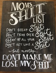 Mom's Shit List wood sign by 2ShiningStars on Etsy