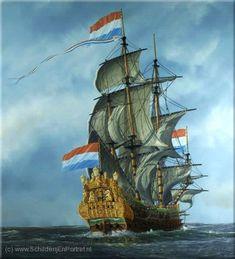VOC zeilschip De 7 Provincien - vlaggeschip van De Ruyter de voc had als enige recht om met azie handel te drijven