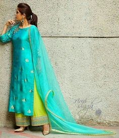 Dresses - Get the ultimate guide on how to create your own designer suits for party and daily wear along with tips on colour combinations and tips on mixing and matching at www indiacontempo com mumbaifashion Salwar Designs, Kurta Designs Women, Kurti Designs Party Wear, Indian Attire, Indian Wear, Indian Dresses, Indian Outfits, Indian Designer Suits, Embroidery Suits