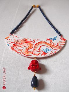 Paper Leaf   Porcelain Red Dragon   handpainted paper necklace  #fauxbrokenchina #paperjewellery #handpainted #PorcelainCollection