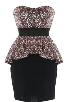 Peplum Panache Dress: Features a sexy sweetheart neckline, mesmerizing ash gold sequin bust and flared peplum waist, bold black waistband for an instant slimming effect, and a form-fitting black skirt to finish.