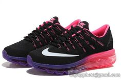 Women's NIKE AIR MAX 2016 Running Shoes Black/Purple Pink