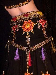 We3 Belly Dance Tribal Gypsy Faire Nirvana Embroidered HipScarf SPECIAL ORDER