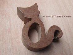 Rond de serviette en bois Chat 2 en chantournage (EPAIS)