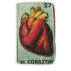 """EL CORAZON """"The Heart"""" Mexican Loteria Makeup Bag - School Supply... (€13) ❤ liked on Polyvore featuring bags, wallets, fillers, accessories, clutches, wallet, zip pouch, heart bag, heart shaped bag and large zipper wallet"""