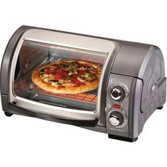 Hamilton Beach Easy-Reach 4- Slice Toaster Oven ($50) ❤ liked on Polyvore featuring home, kitchen & dining, small appliances, hamilton beach convection oven, four slice toaster oven, 4 slice toaster oven, hamilton beach and hamilton beach toaster oven