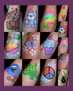 When you think about face painting designs, you probably think about simple kids face painting designs. Many people do not realize that face painting designs go Face Painting Tips, Girl Face Painting, Leg Painting, Face Painting Tutorials, Face Painting Designs, Painting For Kids, Paint Designs, Simple Face Painting, Face Paintings