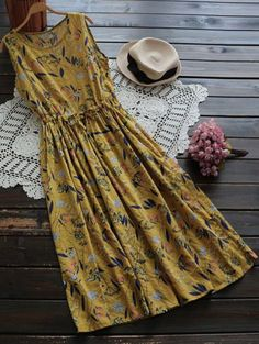 SHARE & Get it FREE | Flower Drawstring Waist Sleeveless Linen Dress - GingerFor Fashion Lovers only:80,000+ Items • New Arrivals Daily Join Zaful: Get YOUR $50 NOW!