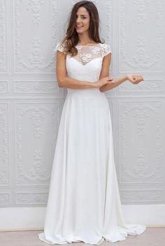 e6802990a07b A Line Chiffon White Lace Appliques Cap Sleeve Open Back Scoop Long Wedding  Dresses