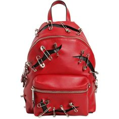 Moschino Women Leather Backpack W/ Safety Pins (3 219 670 LBP) ❤ liked on Polyvore featuring bags, backpacks, red, genuine leather backpack, red leather bag, zipper bag, leather backpacks and leather bags