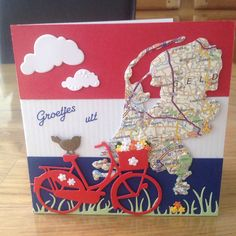 Hollands kaartje gemaakt door Anne Marie. Bicycle Cards, Wind Of Change, Paper Crafts, Diy Crafts, Die Cut Cards, Marianne Design, The Old Days, Stampin Up Cards, Spring Flowers