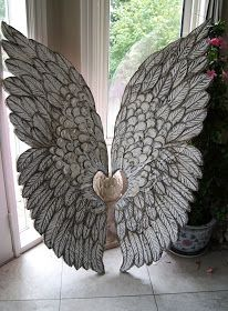 Artistic Environments: Large Angel Wings ~~ Hand Crafted Hand Sculpted Lightweight Wall Hangings