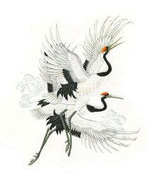 BIG Cranes in Flight Iron On Thermal Shirt Patch Transfer Japanese Crane, Japanese Art, Japanese Back Tattoo, Japanese Sleeve, Korean Art, Asian Art, Flower Pattern Drawing, Crane Tattoo, Sick Tattoo