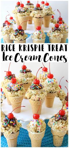 Rice Krispie Ice Cream Cones are easy to make & super cute too! Gooey marshmallow treats topped with melted chocolate, sprinkles & a cherry make these cute cones amazing. Bonus too- they each have a special treat inside the cone! Easy dessert recipe from Butter With A Side of Bread via @ButterGirls